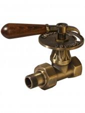 """Вентиль Carlo Poletti 1/2""""F прямой, Bronze (V677L10M) серия """"Classic Art"""" (Retro) c американкой и деревянной ручкой"""