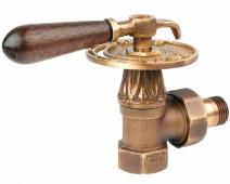"""Вентиль Carlo Poletti 1/2""""F угловой, Bronze (V673L10M) серия """"Classic Art"""" (Retro) c американкой и деревянной ручкой"""